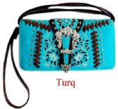 6 Units of Rhinestone Buckle Western Wallet Purse Turquoise - Shoulder Bags & Messenger Bags