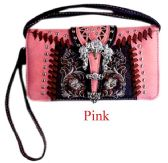 6 Units of Rhinestone Buckle Pink and Brown Wallet Purse - Shoulder Bags & Messenger Bags