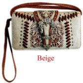 6 Units of Rhinestone Studded Buckle with Embroidery Wallet Purse - Shoulder Bags & Messenger Bags