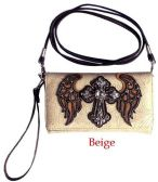 6 Units of Rhinestone Cross with Angel Wings Wallet Purse Beige - Shoulder Bags & Messenger Bags