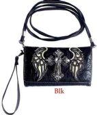 6 Units of Rhinestone Cross with Angel Wings Wallet Purse Black - Shoulder Bags & Messenger Bags