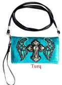6 Units of Rhinestone Cross with Angel Wings Wallet Purse Turquoise - Shoulder Bags & Messenger Bags