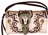 6 Units of Vintage Western Buckle Wallet Purse Beige - Shoulder Bags & Messenger Bags