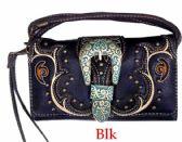 6 Units of Vintage Western Buckle Wallet Purse Black - Shoulder Bags & Messenger Bags