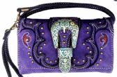 6 Units of Vintage Western Buckle Wallet Purse Purple - Shoulder Bags & Messenger Bags