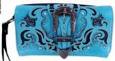 6 Units of Buckle with Laser Cutout Pattern Wallet Purse Turquoise - Shoulder Bags & Messenger Bags