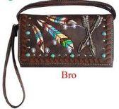 6 Units of Tribal arrow wallet purse brown - Shoulder Bags & Messenger Bags