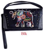6 Units of Rhinestone Wallet Purse with Elephant Embroidery - Shoulder Bags & Messenger Bags