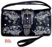 6 Units of Star Studded Buckle Flower Wallet Purse Black - Shoulder Bags & Messenger Bags