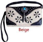 6 Units of Western Studded Flower Design Wallet Purse Beige - Shoulder Bags & Messenger Bags