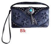 6 Units of Western Studded Flower Design Wallet Purse Black - Shoulder Bags & Messenger Bags