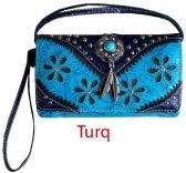 6 Units of Western Studded Flower Design Wallet Purse Turquoise - Shoulder Bags & Messenger Bags