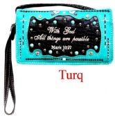 6 Units of Bible Verse Wallet Purse Torquoise - Shoulder Bags & Messenger Bags