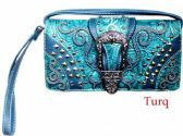 6 Units of Western Buckle Wallet Purse Turquoise - Shoulder Bags & Messenger Bags