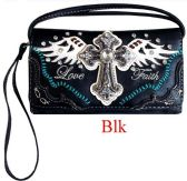 6 Units of Rhinestone Wallet Purse with Cross Wing Love Faith - Shoulder Bags & Messenger Bags