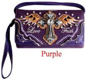 6 Units of Rhinestone Wallet Purse with Cross Wing Love Faith In Purple - Shoulder Bags & Messenger Bags