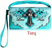 6 Units of Rhinestone Wallet Purse with Cross Wing Love Faith In Turquoise - Shoulder Bags & Messenger Bags
