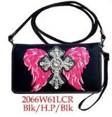 6 Units of Cross with wing design wallet purse with strap hot pink - Shoulder Bags & Messenger Bags