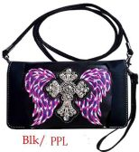6 Units of Rhinestone Wallet Purse Cross with Wing Black Purple - Shoulder Bags & Messenger Bags