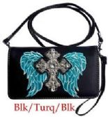6 Units of Rhinestone Western Style Wallet Purse Cross with Wing - Shoulder Bags & Messenger Bags