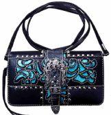 6 Units of Western Buckle Wallet Purse Black Turquoise - Shoulder Bags & Messenger Bags