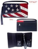 6 Units of USA Flag Rhinestone and Studs Wallet Purse - Shoulder Bags & Messenger Bags
