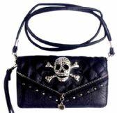 6 Units of Rhinestone Metal Head Skull Wallet Purse Black - Shoulder Bags & Messenger Bags