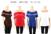 96 Units of Loose Shoulder Ruffle Tops - Womens Fashion Tops