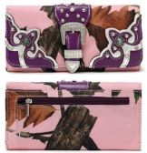 12 Units of Rhinestone Real Tree Camo Wallet with Buckle Purple - Wallets & Handbags