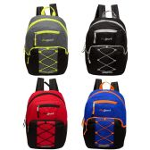 "24 Units of 17"" Classic Bungee Backpack in 4 Assorted Colors with side Mesh Water Bottle Pockets - Backpacks 17"""
