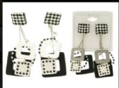 36 Units of Dice Dangle Earrings Multi Color And Silver Tone - Earrings
