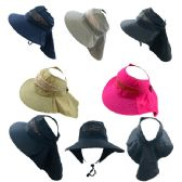24 Units of Ladies Pony Tail Canvas Mesh Hat with Flap - Sun Hats