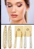 36 Units of Chain Hoop Earrings Dual Tone - Earrings