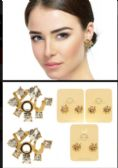 36 Units of YOU Stud Earrings With Crystal Accents Gold Tone And Multi Color - Earrings