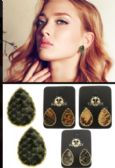 36 Units of Snake Skin Reptile Stud Earrings Multi Color And Gold Tone - Earrings