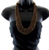 12 Units of Medium length beaded necklace styled in a thick braid - Necklace