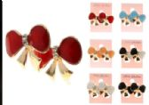 96 Units of Bow Stud Earrings With Crystal Accents Multi Color And Gold Tone - Earrings