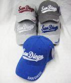 36 Units of San Diego Printed Logo Cap - Baseball Caps & Snap Backs