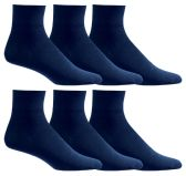 6 Units of Yacht & Smith Men's Loose Fit Non-Binding Soft Cotton Diabetic Quarter Ankle Socks,Size 10-13 Navy - Men's Diabetic Socks
