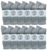 12 Units of Yacht & Smith Wholesale Bulk Womens Crew Socks, Cotton Sport Athletic Socks - Gray - 12 Packs - Womens Crew Sock