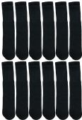 12 Units of Yacht & Smith Men's Solid Tube Socks Size 10-13 Black - Mens Tube Sock