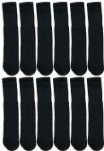 12 Units of Yacht & Smith Men's Solid Tube Socks Size 10-13 Black - Mens Tube Sock