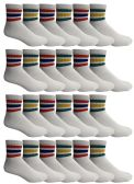 24 Units of Yacht & Smith Men's King Size Premium Cotton Sport Ankle Socks Size 13-16 With Stripes - Big And Tall Mens Ankle Socks