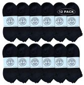 12 Units of Yacht & Smith Wholesale Bulk Womens No Show Ankle Socks, Cotton Sport Athletic Socks - Black - 12 Packs - Womens Ankle Sock