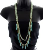 36 Units of Long necklace with suede like string braided through chains - Necklace