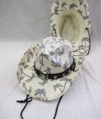 36 Units of Western White Printed Palm Tree Cow Boy Hat - Cowboy & Boonie Hat