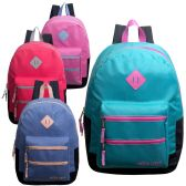 "24 Units of 17"" Backpacks with Dual Front Zipper Pockets in 4 Assorted Colors - Backpacks 17"""