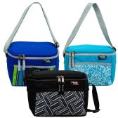 """24 Units of 14"""" Bulk 6 Can Printed Cooler in 3 Assorted Colors - Lunch Bags & Accessories"""