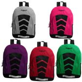 "24 Units of 17"" Sport Bulk Backpacks in 5 Assorted Colors - Backpacks 17"""