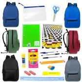 "24 Units of 17"" Backpacks with 20 Piece School Supply Kit - School Supply Kits"